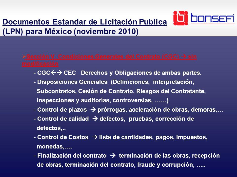 Sección V. Condiciones Generales del Contrato (CGC) sin modificación - CGC CEC Derechos y Obligaciones de ambas partes. - Disposiciones Generales (Def