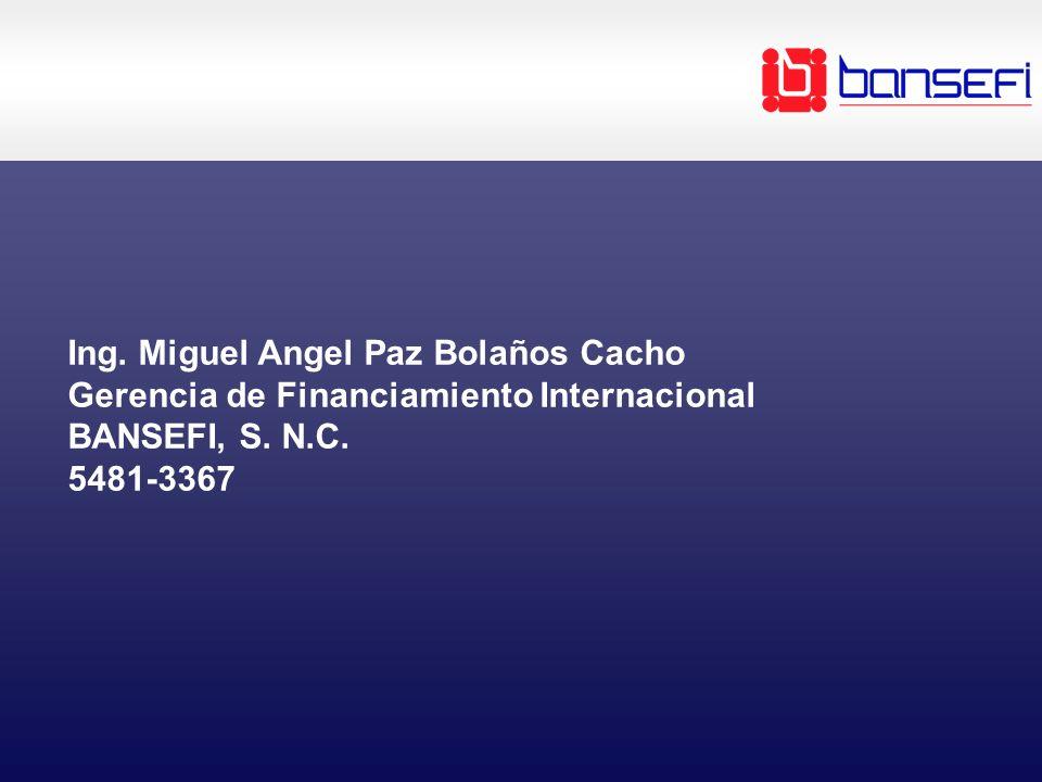 Ing. Miguel Angel Paz Bolaños Cacho Gerencia de Financiamiento Internacional BANSEFI, S. N.C. 5481-3367