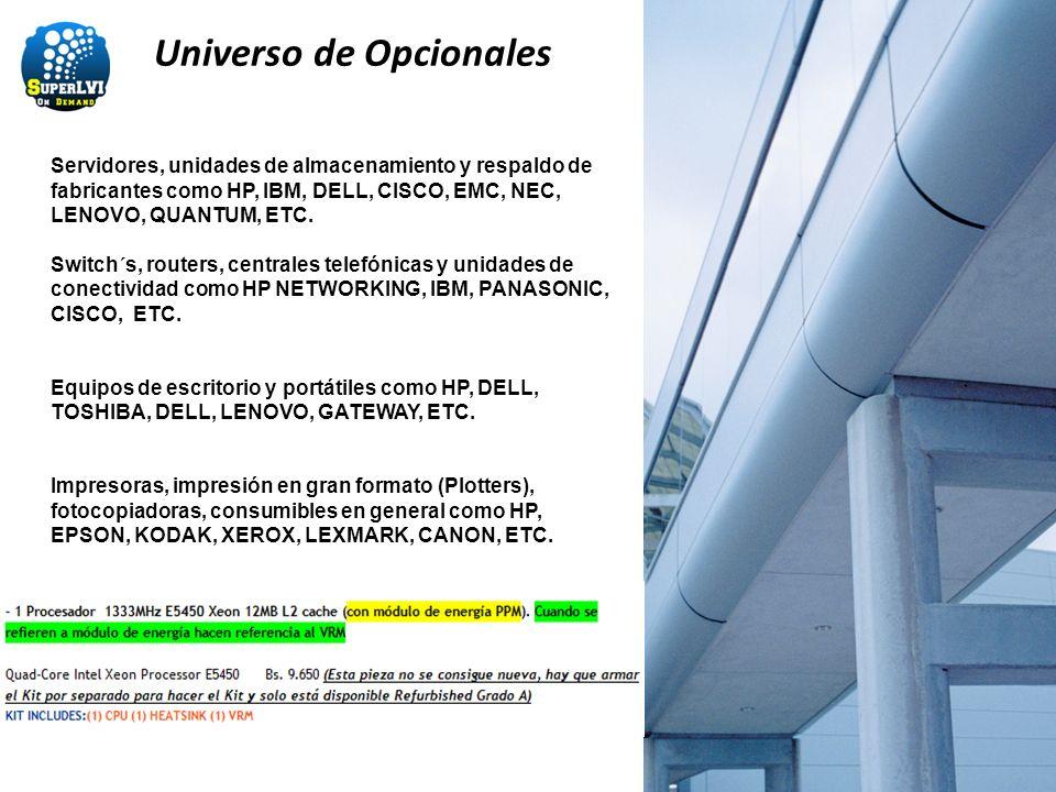 Universo de Opcionales Servidores, unidades de almacenamiento y respaldo de fabricantes como HP, IBM, DELL, CISCO, EMC, NEC, LENOVO, QUANTUM, ETC. Swi