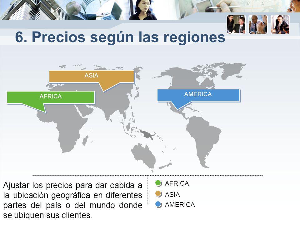 6. Precios según las regiones Ajustar los precios para dar cabida a la ubicación geográfica en diferentes partes del país o del mundo donde se ubiquen