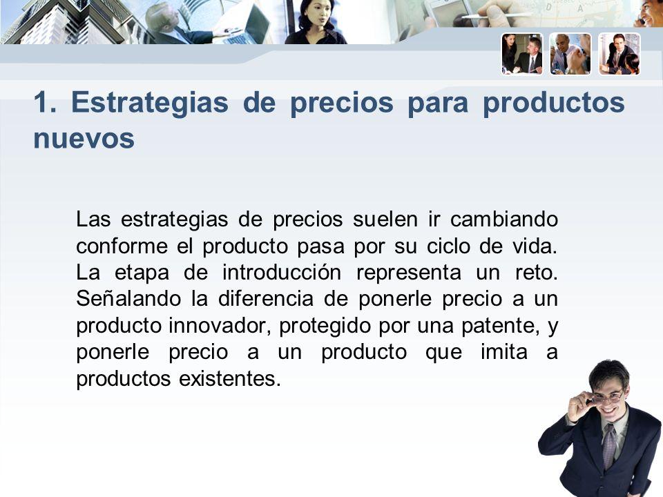 1. Estrategias de precios para productos nuevos Las estrategias de precios suelen ir cambiando conforme el producto pasa por su ciclo de vida. La etap