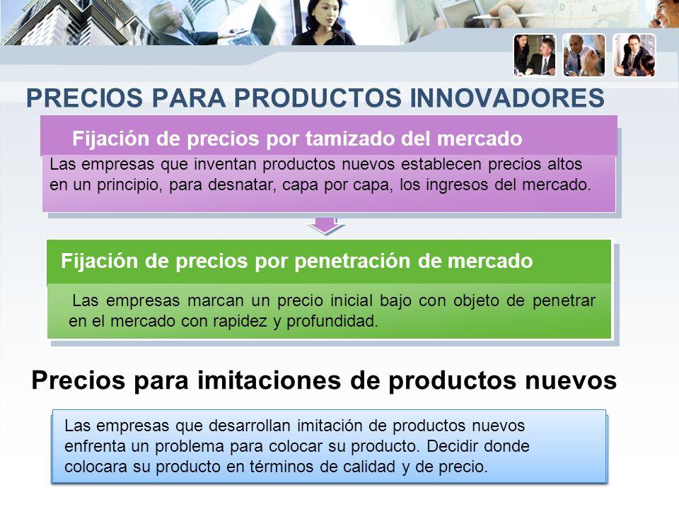 PRECIOS PARA PRODUCTOS INNOVADORES Precios para imitaciones de productos nuevos Las empresas marcan un precio inicial bajo con objeto de penetrar en el mercado con rapidez y profundidad.