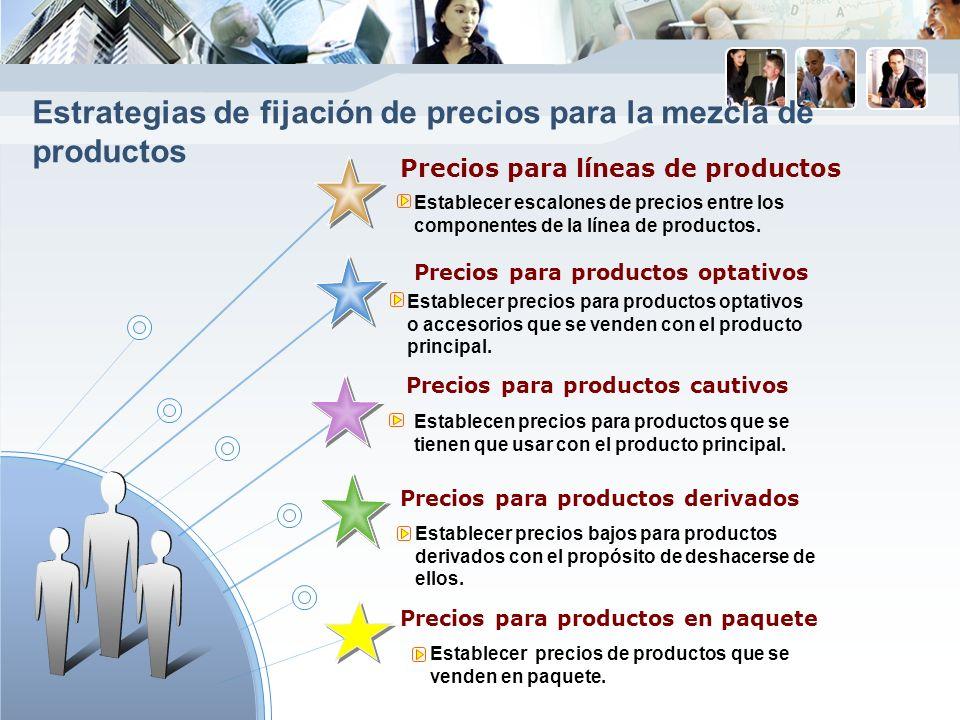Precios para líneas de productos Precios para productos optativos Precios para productos cautivos Precios para productos derivados Establecer escalones de precios entre los componentes de la línea de productos.