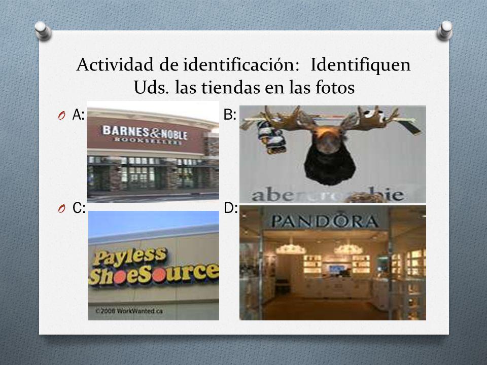 Actividad de identificación: Identifiquen Uds. las tiendas en las fotos O A: B: O C: D: