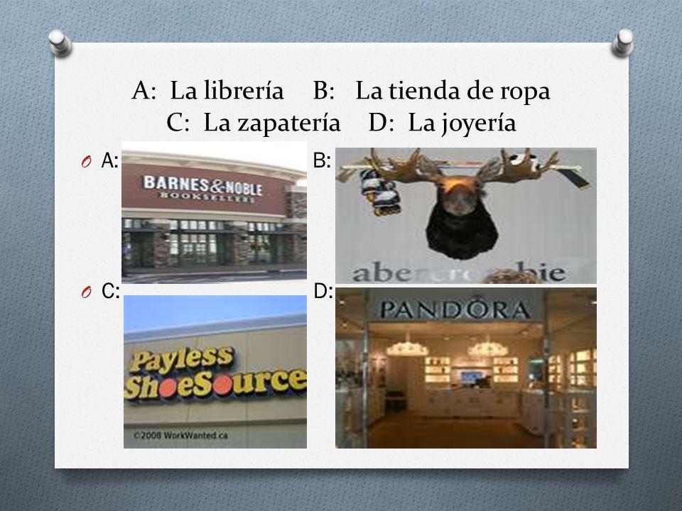 A: La librería B: La tienda de ropa C: La zapatería D: La joyería O A: B: O C: D: