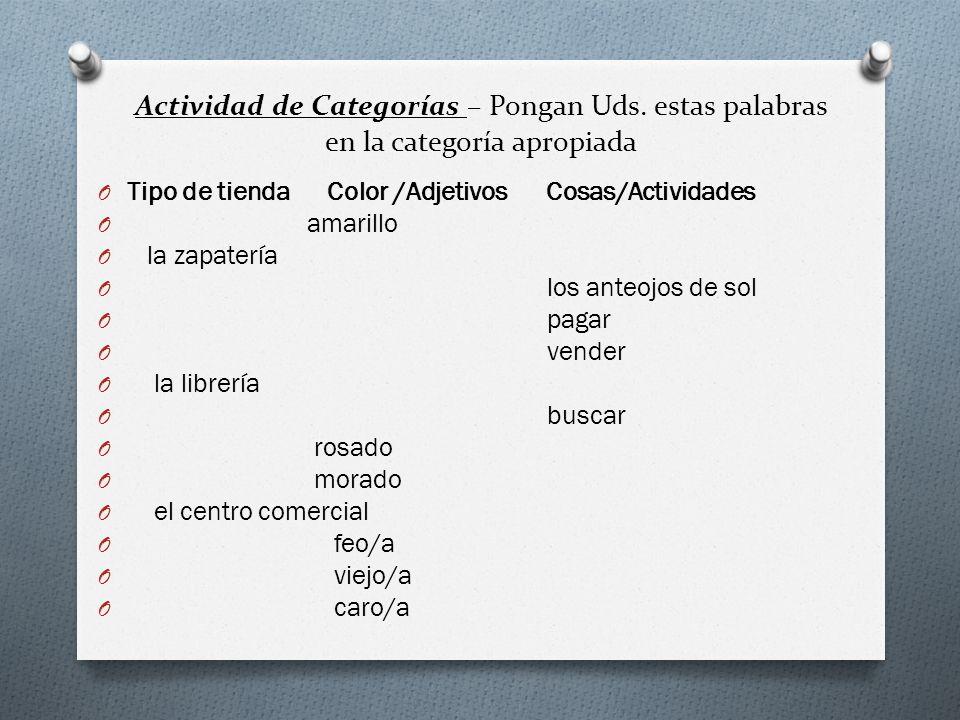 Actividad de Categorías – Pongan Uds. estas palabras en la categoría apropiada O Tipo de tienda Color /Adjetivos Cosas/Actividades O amarillo O la zap