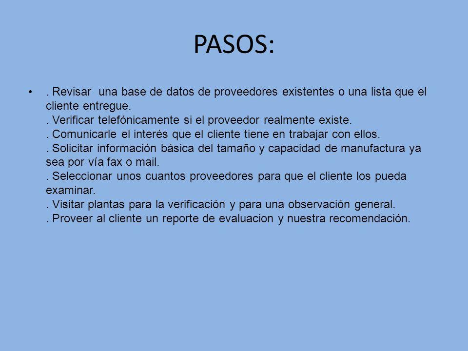 PASOS:. Revisar una base de datos de proveedores existentes o una lista que el cliente entregue.. Verificar telefónicamente si el proveedor realmente