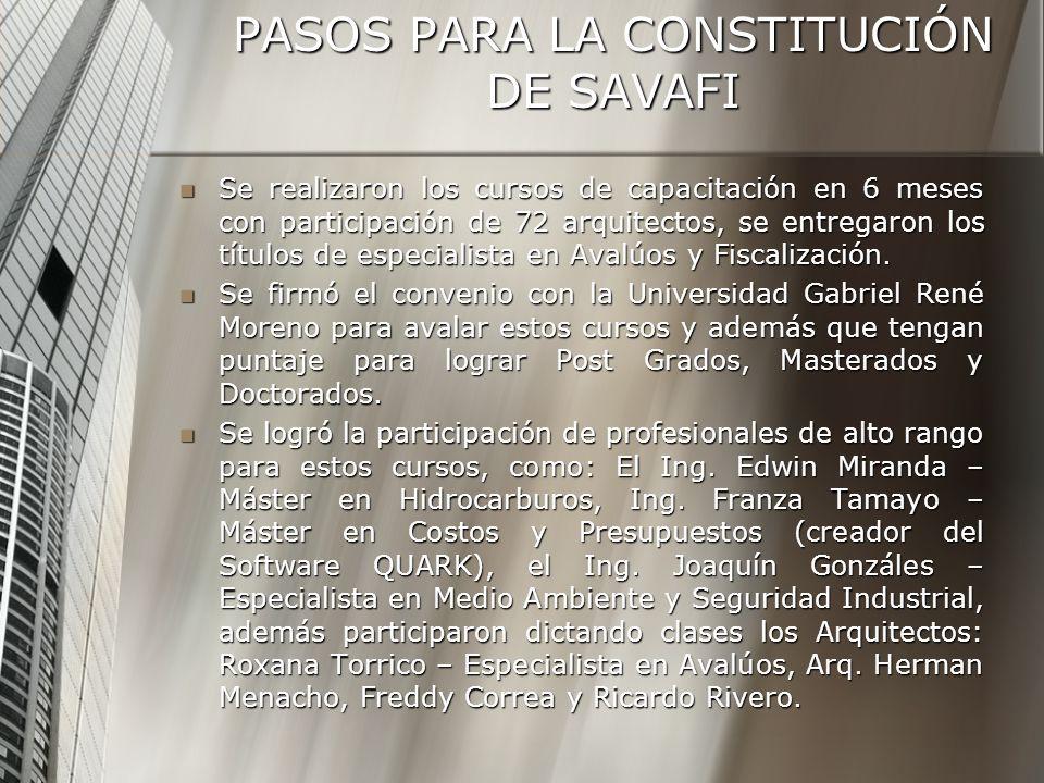 PASOS PARA LA CONSTITUCIÓN DE SAVAFI Se realizaron los cursos de capacitación en 6 meses con participación de 72 arquitectos, se entregaron los títulos de especialista en Avalúos y Fiscalización.