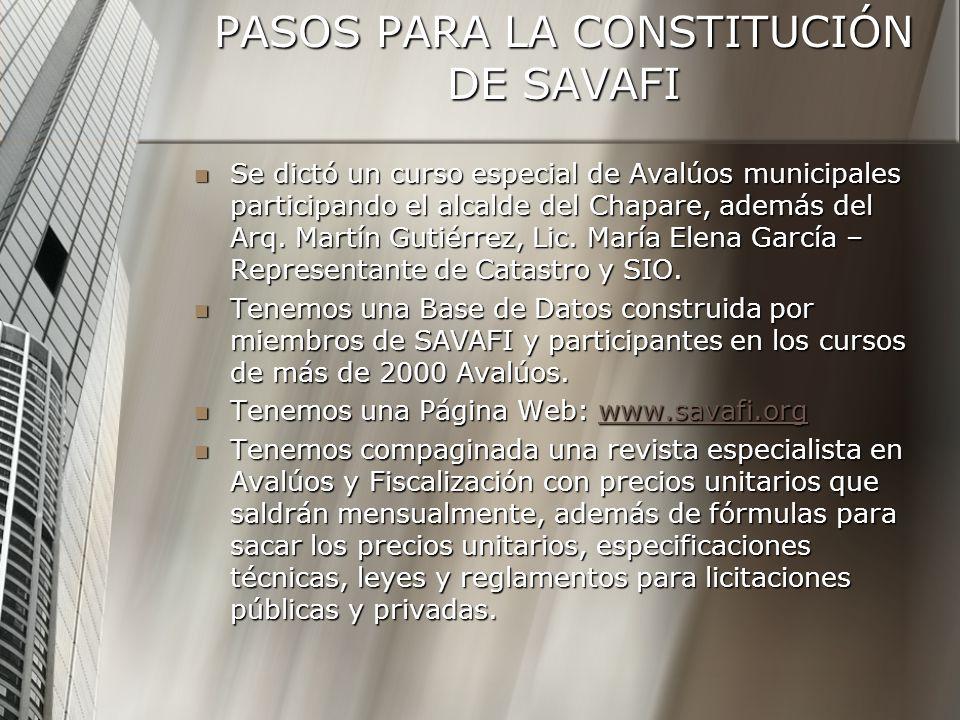 PASOS PARA LA CONSTITUCIÓN DE SAVAFI Se dictó un curso especial de Avalúos municipales participando el alcalde del Chapare, además del Arq. Martín Gut
