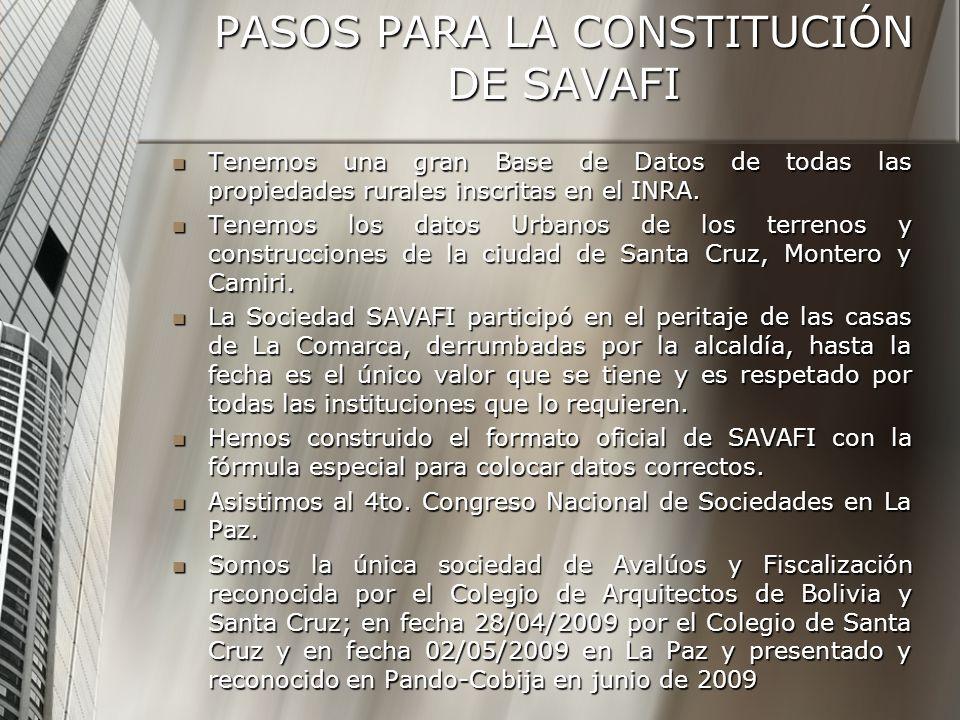 PASOS PARA LA CONSTITUCIÓN DE SAVAFI Tenemos una gran Base de Datos de todas las propiedades rurales inscritas en el INRA.