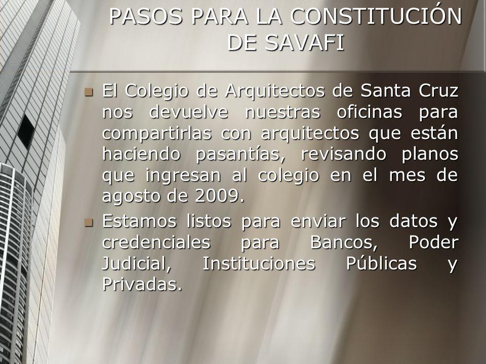 PASOS PARA LA CONSTITUCIÓN DE SAVAFI El Colegio de Arquitectos de Santa Cruz nos devuelve nuestras oficinas para compartirlas con arquitectos que están haciendo pasantías, revisando planos que ingresan al colegio en el mes de agosto de 2009.