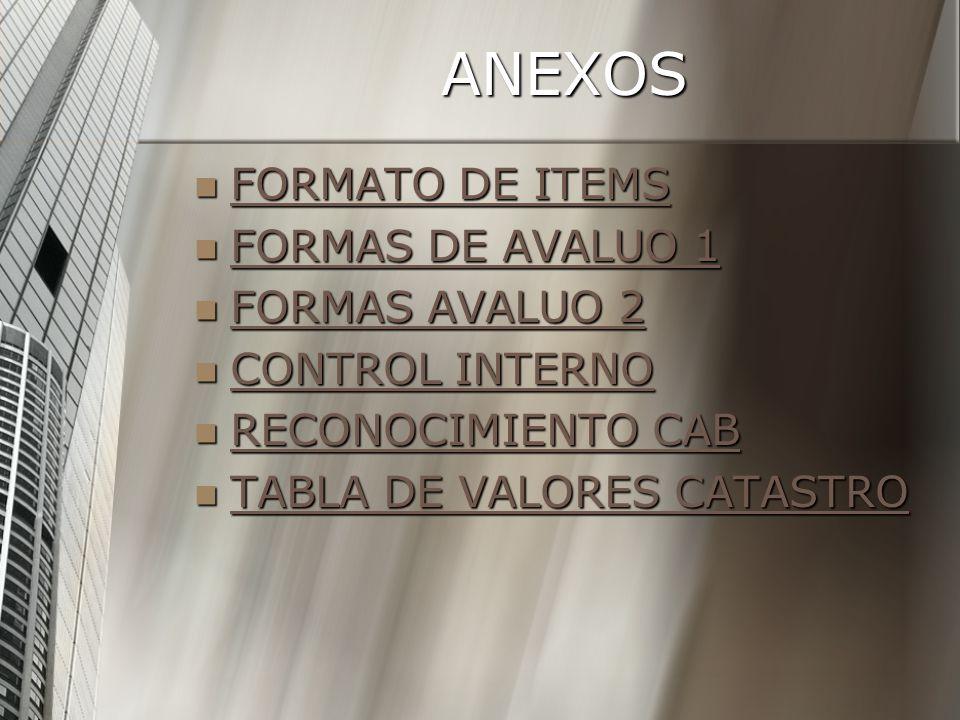 ANEXOS FORMATO DE ITEMS FORMATO DE ITEMS FORMATO DE ITEMS FORMATO DE ITEMS FORMAS DE AVALUO 1 FORMAS DE AVALUO 1 FORMAS DE AVALUO 1 FORMAS DE AVALUO 1 FORMAS AVALUO 2 FORMAS AVALUO 2 FORMAS AVALUO 2 FORMAS AVALUO 2 CONTROL INTERNO CONTROL INTERNO CONTROL INTERNO CONTROL INTERNO RECONOCIMIENTO CAB RECONOCIMIENTO CAB RECONOCIMIENTO CAB RECONOCIMIENTO CAB TABLA DE VALORES CATASTRO TABLA DE VALORES CATASTRO TABLA DE VALORES CATASTRO TABLA DE VALORES CATASTRO