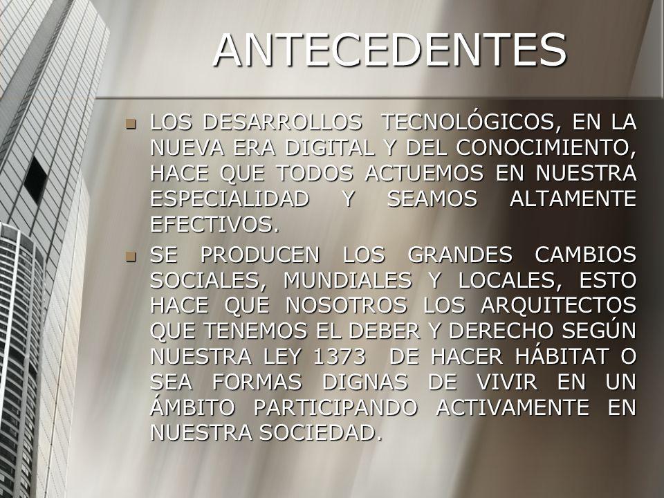 ANTECEDENTES LOS DESARROLLOS TECNOLÓGICOS, EN LA NUEVA ERA DIGITAL Y DEL CONOCIMIENTO, HACE QUE TODOS ACTUEMOS EN NUESTRA ESPECIALIDAD Y SEAMOS ALTAME