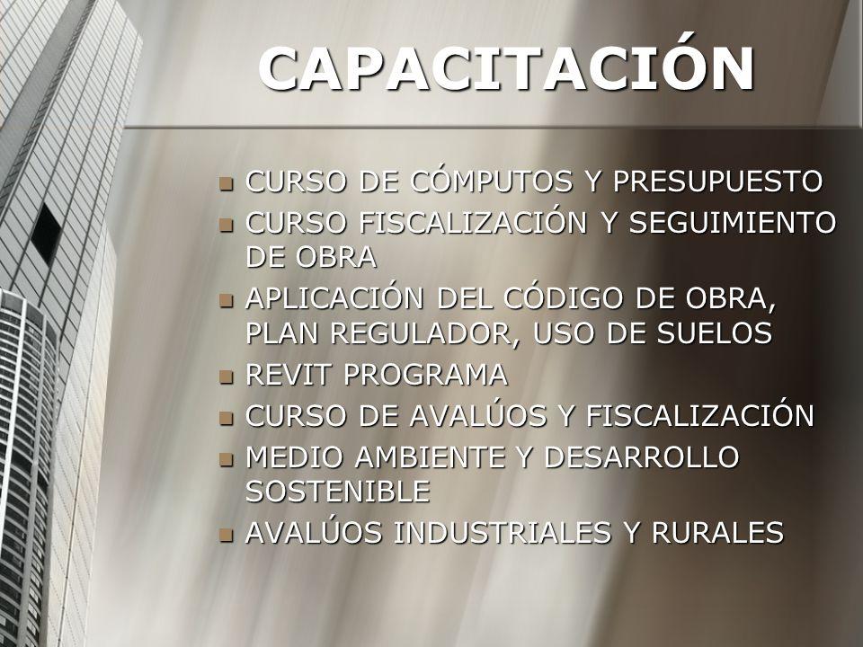 CAPACITACIÓN CURSO DE CÓMPUTOS Y PRESUPUESTO CURSO DE CÓMPUTOS Y PRESUPUESTO CURSO FISCALIZACIÓN Y SEGUIMIENTO DE OBRA CURSO FISCALIZACIÓN Y SEGUIMIENTO DE OBRA APLICACIÓN DEL CÓDIGO DE OBRA, PLAN REGULADOR, USO DE SUELOS APLICACIÓN DEL CÓDIGO DE OBRA, PLAN REGULADOR, USO DE SUELOS REVIT PROGRAMA REVIT PROGRAMA CURSO DE AVALÚOS Y FISCALIZACIÓN CURSO DE AVALÚOS Y FISCALIZACIÓN MEDIO AMBIENTE Y DESARROLLO SOSTENIBLE MEDIO AMBIENTE Y DESARROLLO SOSTENIBLE AVALÚOS INDUSTRIALES Y RURALES AVALÚOS INDUSTRIALES Y RURALES