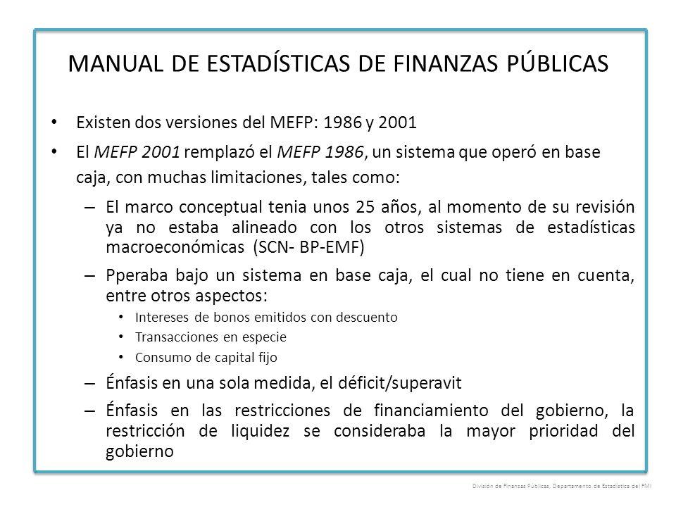 Existen dos versiones del MEFP: 1986 y 2001 El MEFP 2001 remplazó el MEFP 1986, un sistema que operó en base caja, con muchas limitaciones, tales como