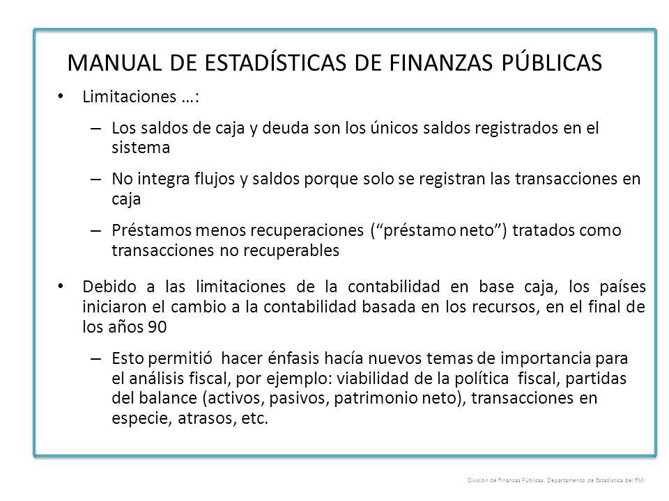 MANUAL DE ESTADÍSTICAS DE FINANZAS PÚBLICAS Limitaciones …: – Los saldos de caja y deuda son los únicos saldos registrados en el sistema – No integra