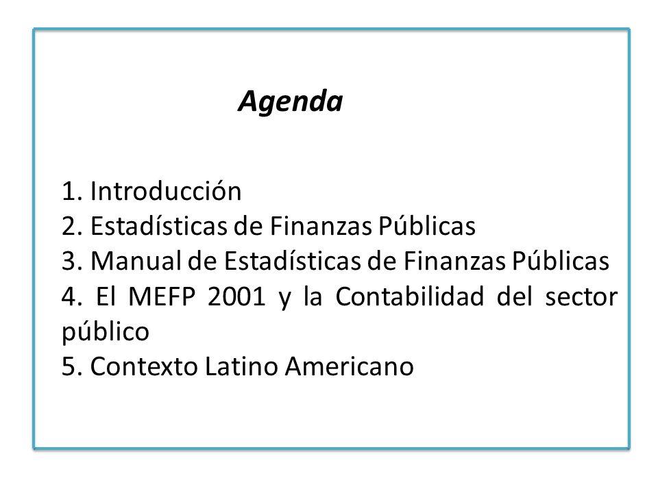 1. Introducción 2. Estadísticas de Finanzas Públicas 3. Manual de Estadísticas de Finanzas Públicas 4. El MEFP 2001 y la Contabilidad del sector públi