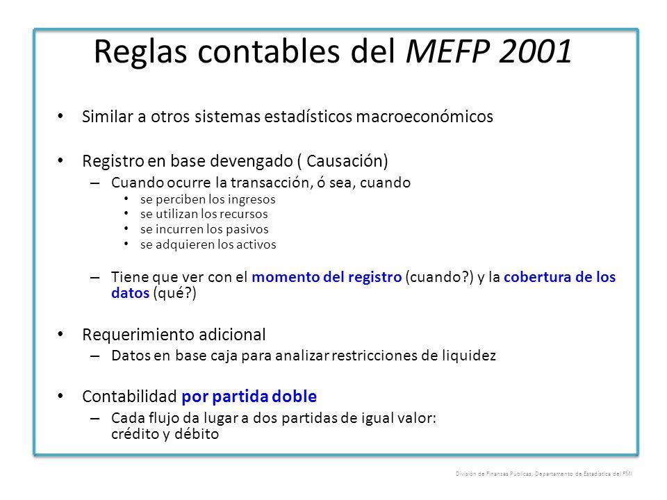 Reglas contables del MEFP 2001 Similar a otros sistemas estadísticos macroeconómicos Registro en base devengado ( Causación) – Cuando ocurre la transa