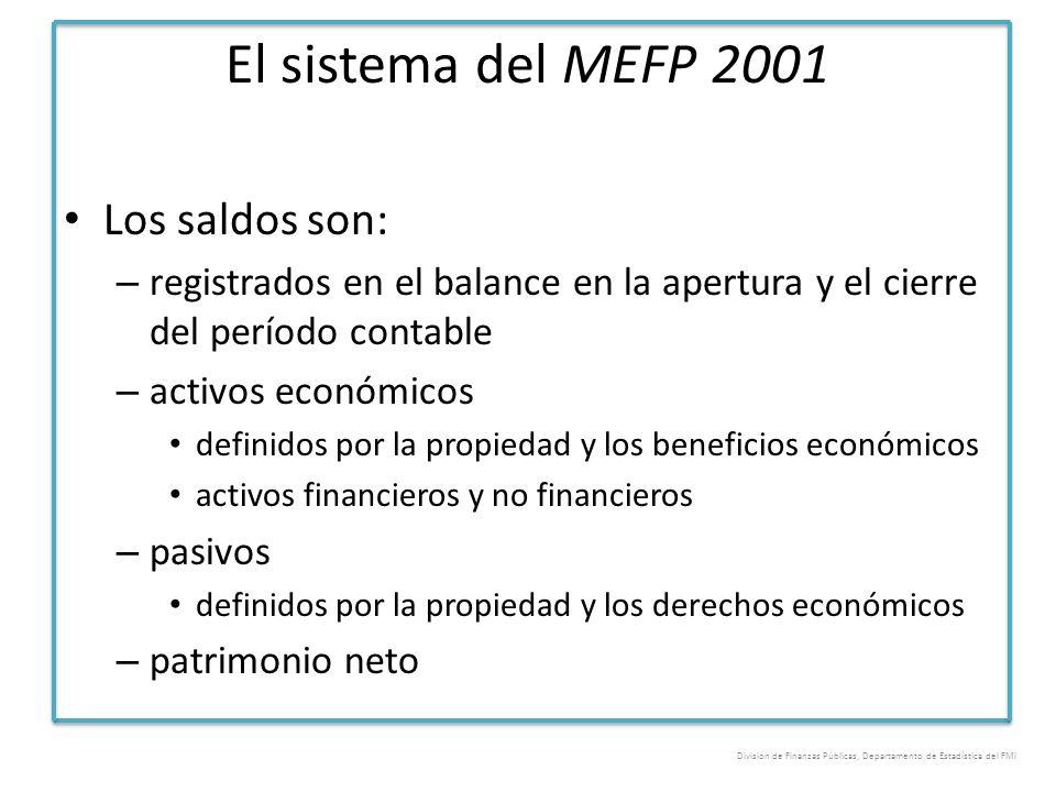 El sistema del MEFP 2001 Los saldos son: – registrados en el balance en la apertura y el cierre del período contable – activos económicos definidos po