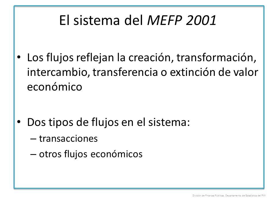 El sistema del MEFP 2001 Los flujos reflejan la creación, transformación, intercambio, transferencia o extinción de valor económico Dos tipos de flujo