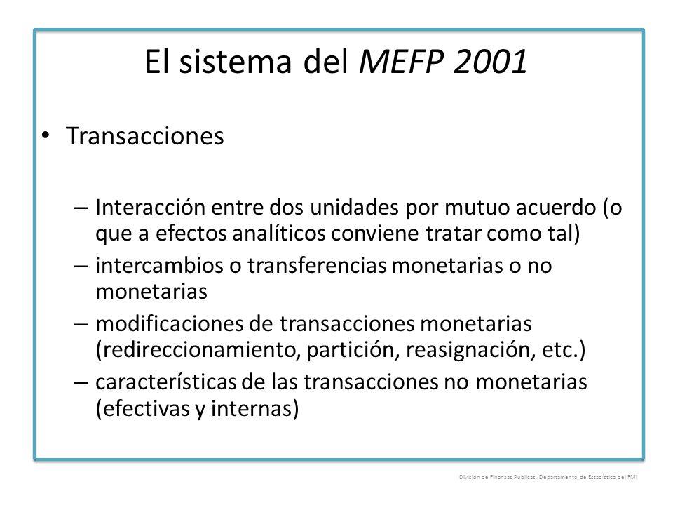 El sistema del MEFP 2001 Transacciones – Interacción entre dos unidades por mutuo acuerdo (o que a efectos analíticos conviene tratar como tal) – inte