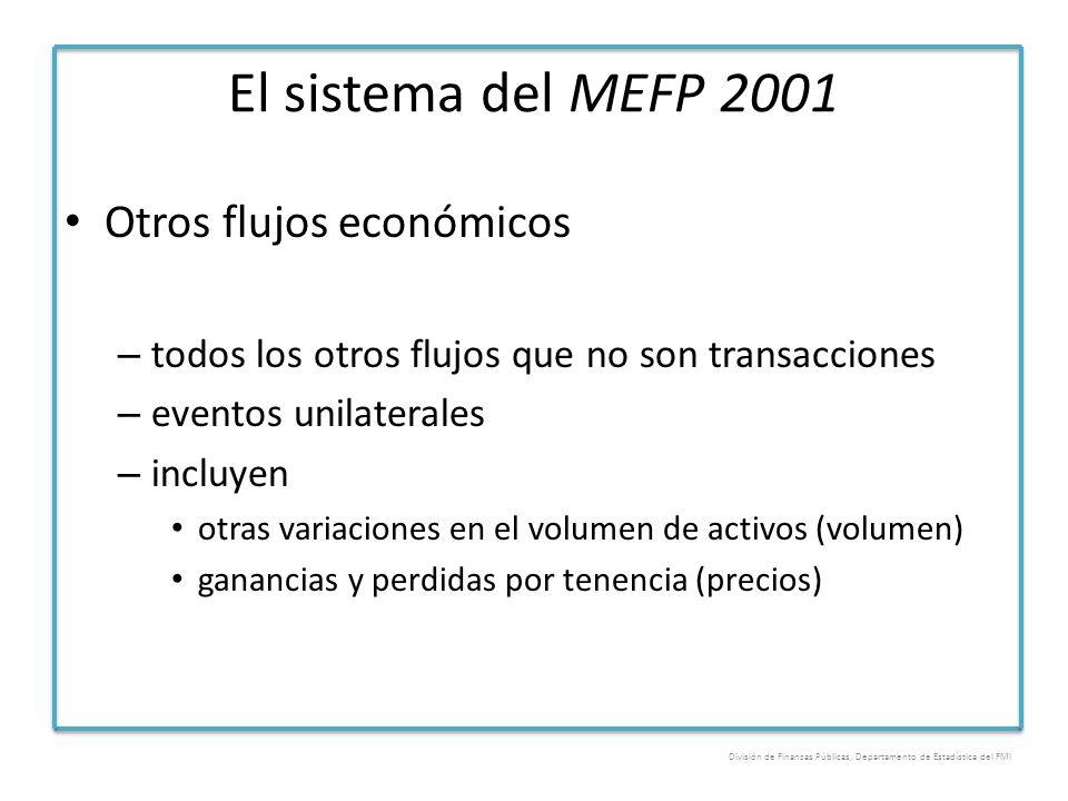 El sistema del MEFP 2001 Otros flujos económicos – todos los otros flujos que no son transacciones – eventos unilaterales – incluyen otras variaciones