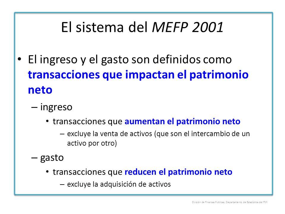 El sistema del MEFP 2001 El ingreso y el gasto son definidos como transacciones que impactan el patrimonio neto – ingreso transacciones que aumentan e