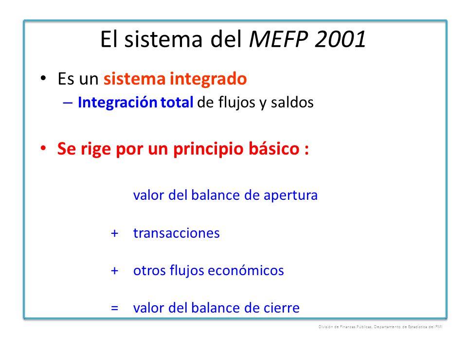 El sistema del MEFP 2001 Es un sistema integrado – Integración total de flujos y saldos Se rige por un principio básico : valor del balance de apertur
