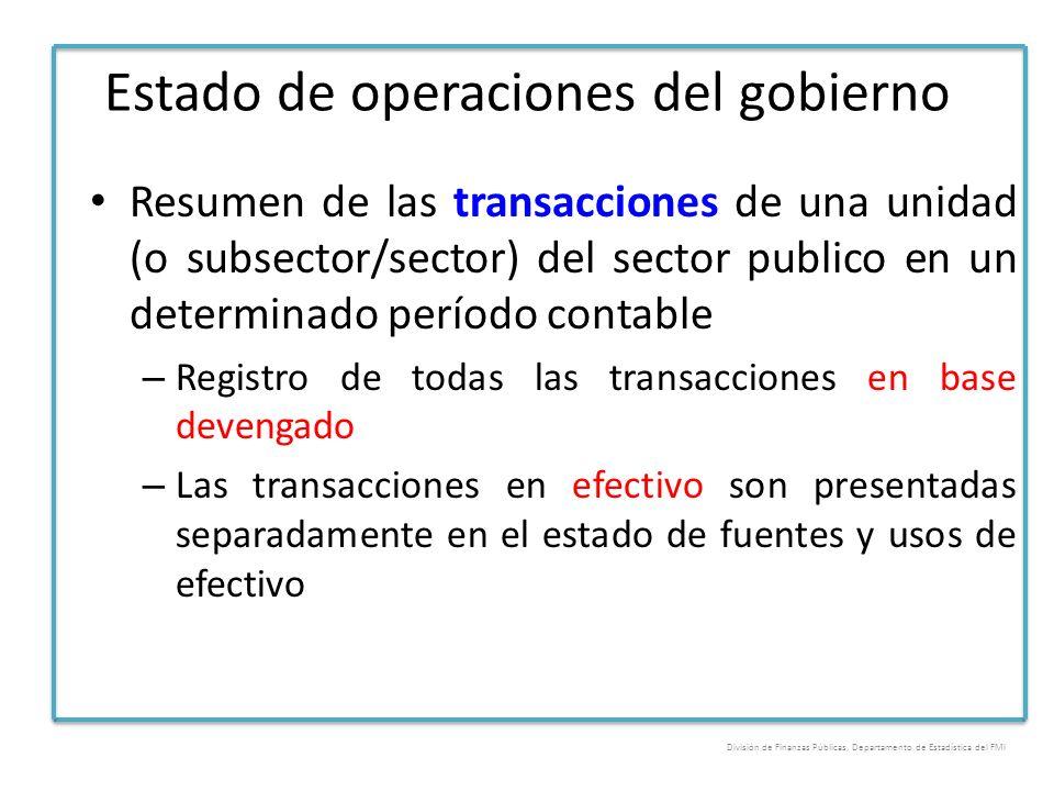 Estado de operaciones del gobierno Resumen de las transacciones de una unidad (o subsector/sector) del sector publico en un determinado período contab