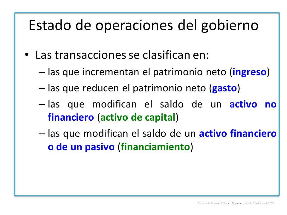 Estado de operaciones del gobierno Las transacciones se clasifican en: – las que incrementan el patrimonio neto (ingreso) – las que reducen el patrimo