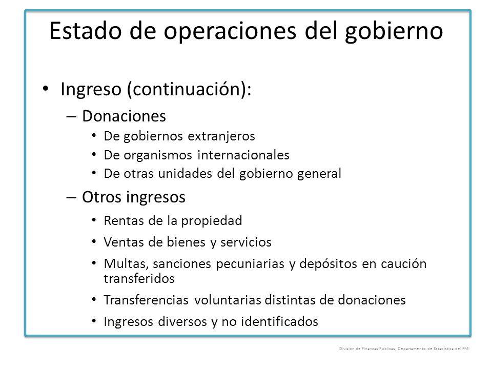 Estado de operaciones del gobierno Ingreso (continuación): – Donaciones De gobiernos extranjeros De organismos internacionales De otras unidades del g