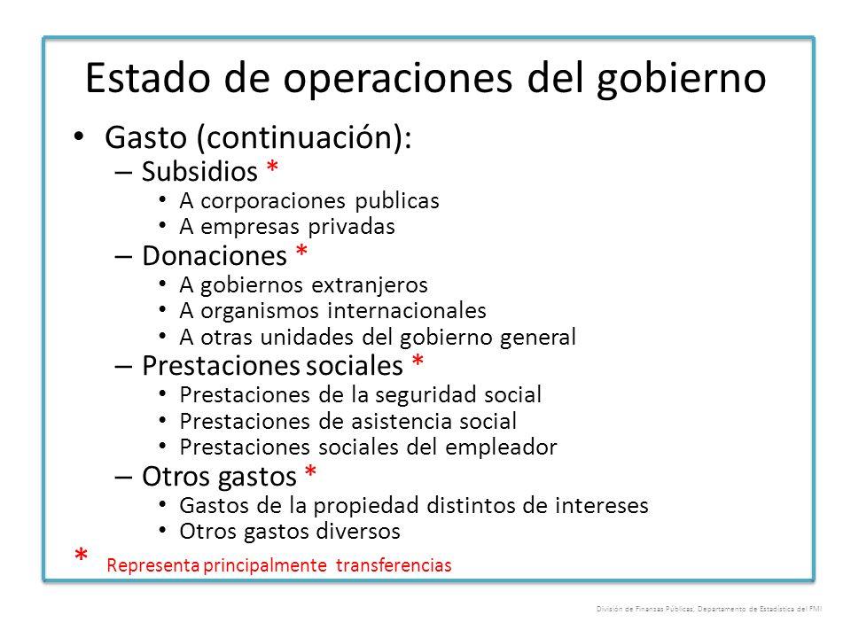Estado de operaciones del gobierno Gasto (continuación): – Subsidios * A corporaciones publicas A empresas privadas – Donaciones * A gobiernos extranj