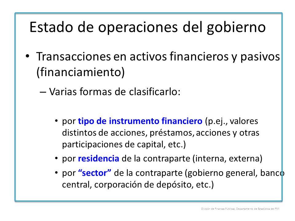 Estado de operaciones del gobierno Transacciones en activos financieros y pasivos (financiamiento) – Varias formas de clasificarlo: por tipo de instru