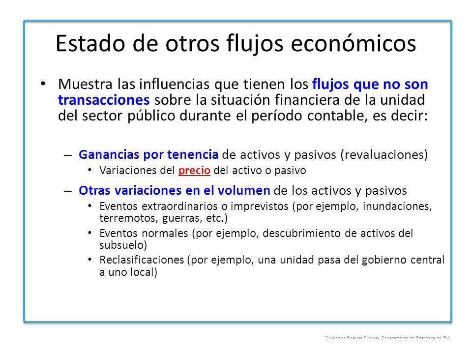 Estado de otros flujos económicos Muestra las influencias que tienen los flujos que no son transacciones sobre la situación financiera de la unidad de