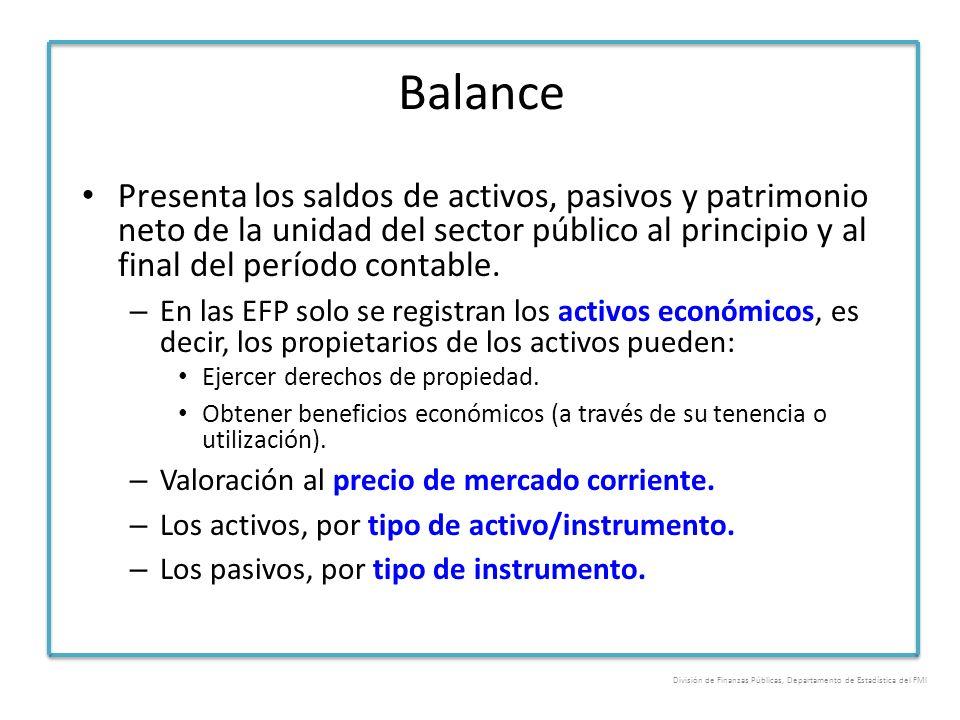 Balance Presenta los saldos de activos, pasivos y patrimonio neto de la unidad del sector público al principio y al final del período contable. – En l