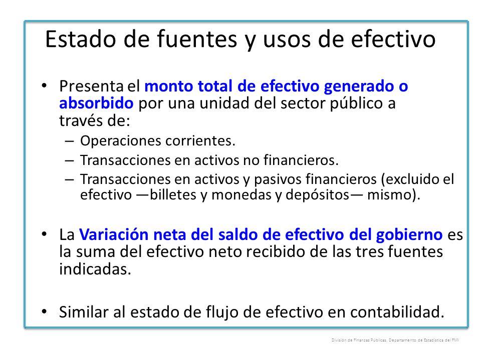 Estado de fuentes y usos de efectivo Presenta el monto total de efectivo generado o absorbido por una unidad del sector público a través de: – Operaci