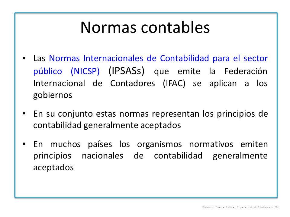 Normas contables Las Normas Internacionales de Contabilidad para el sector público (NICSP) (IPSASs) que emite la Federación Internacional de Contadore