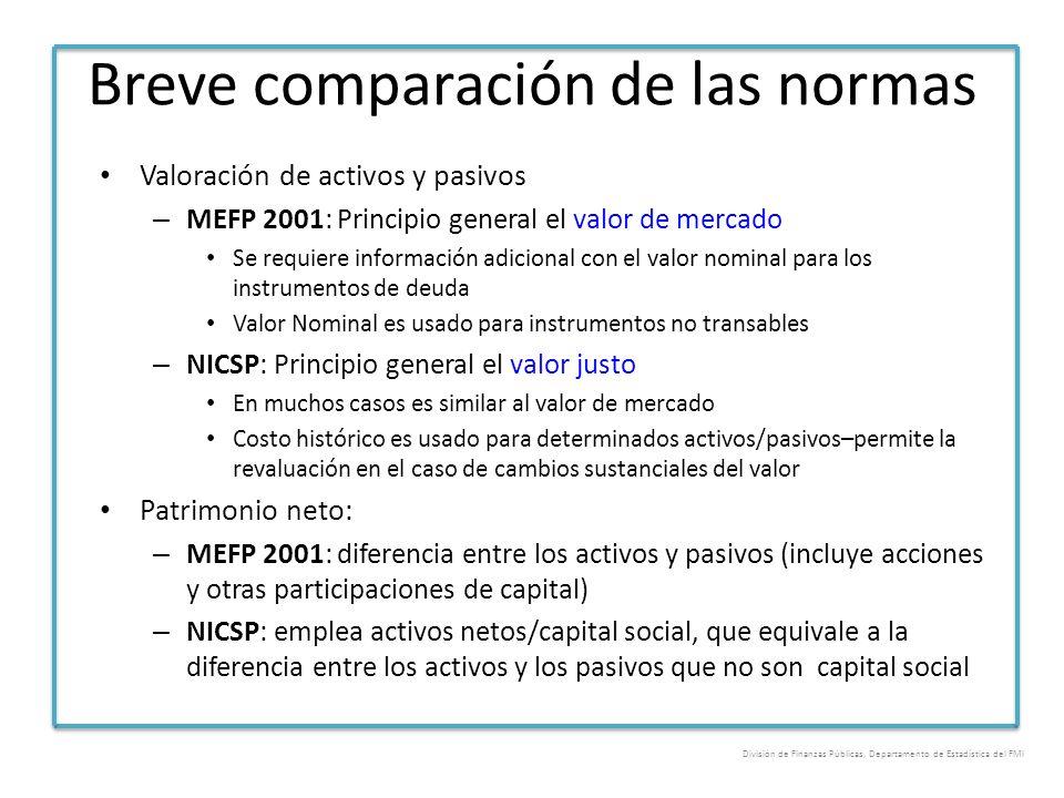Breve comparación de las normas Valoración de activos y pasivos – MEFP 2001: Principio general el valor de mercado Se requiere información adicional c