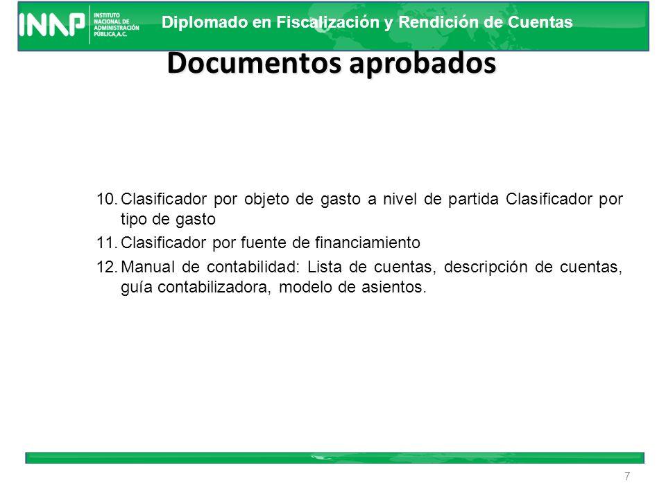 Diplomado en Fiscalización y Rendición de Cuentas Documentos aprobados 1.Marco Conceptual. 2. Postulados Básicos. 3.Norma y metodología del registro d