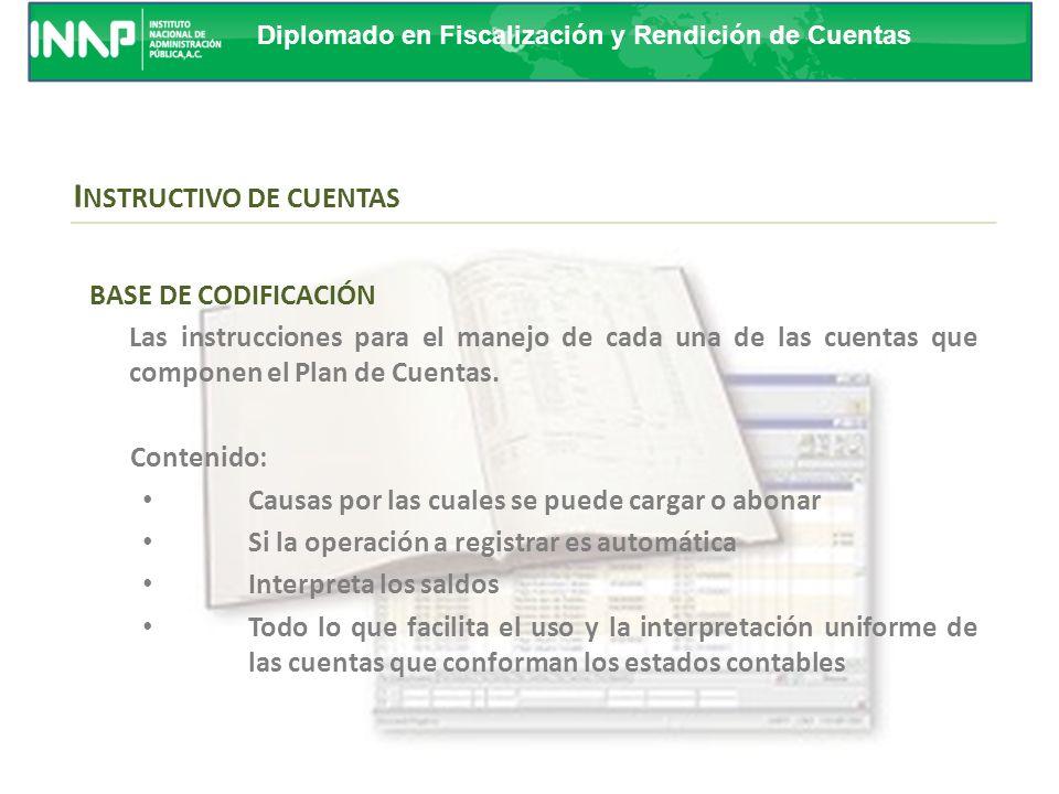 Diplomado en Fiscalización y Rendición de Cuentas La estructura presentada en el presente documento, permite formar agrupaciones que van de conceptos