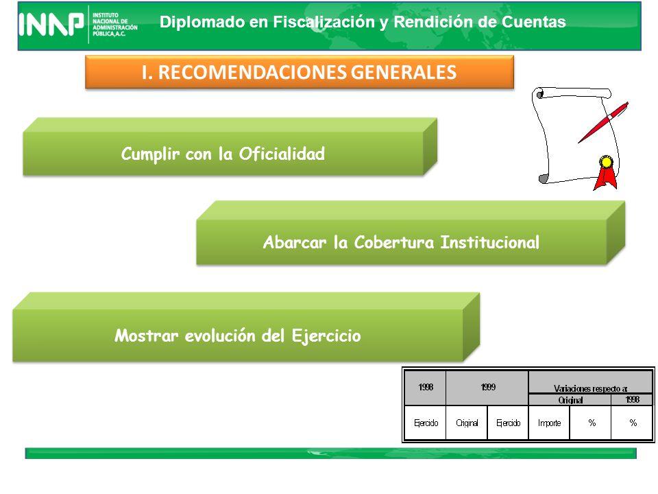 Diplomado en Fiscalización y Rendición de Cuentas CONSIDERACIONES PARA FORMULAR LAS CUENTAS PUBLICAS