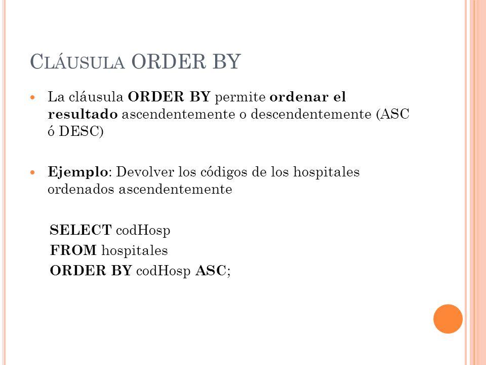 C LÁUSULA ORDER BY La cláusula ORDER BY permite ordenar el resultado ascendentemente o descendentemente (ASC ó DESC) Ejemplo : Devolver los códigos de