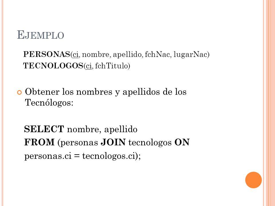 E JEMPLO PERSONAS (ci, nombre, apellido, fchNac, lugarNac) TECNOLOGOS (ci, fchTitulo) Obtener los nombres y apellidos de los Tecnólogos: SELECT nombre