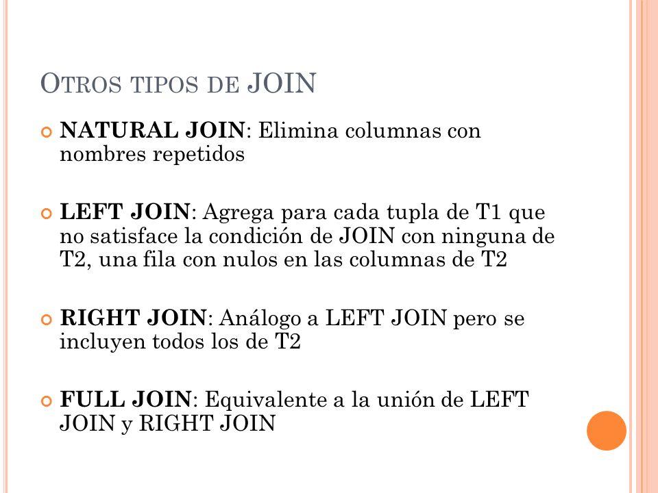 O TROS TIPOS DE JOIN NATURAL JOIN : Elimina columnas con nombres repetidos LEFT JOIN : Agrega para cada tupla de T1 que no satisface la condición de J