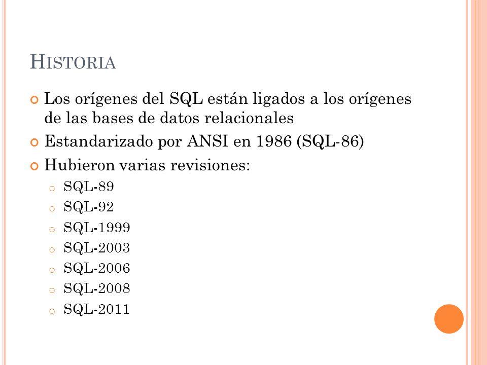 H ISTORIA Los orígenes del SQL están ligados a los orígenes de las bases de datos relacionales Estandarizado por ANSI en 1986 (SQL-86) Hubieron varias