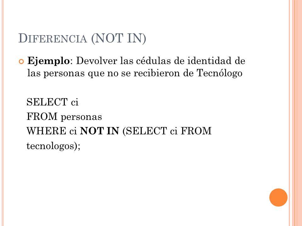 D IFERENCIA (NOT IN) Ejemplo : Devolver las cédulas de identidad de las personas que no se recibieron de Tecnólogo SELECT ci FROM personas WHERE ci NO
