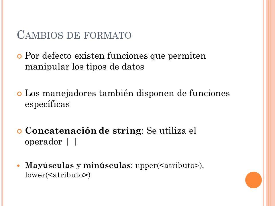 C AMBIOS DE FORMATO Por defecto existen funciones que permiten manipular los tipos de datos Los manejadores también disponen de funciones específicas