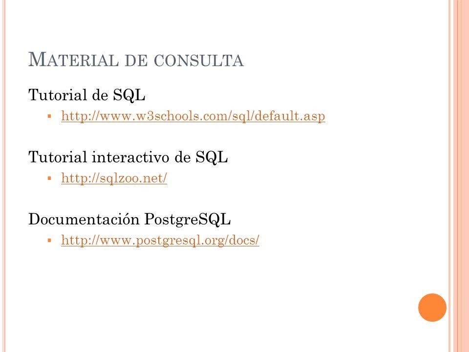 M ATERIAL DE CONSULTA Tutorial de SQL http://www.w3schools.com/sql/default.asp Tutorial interactivo de SQL http://sqlzoo.net/ Documentación PostgreSQL