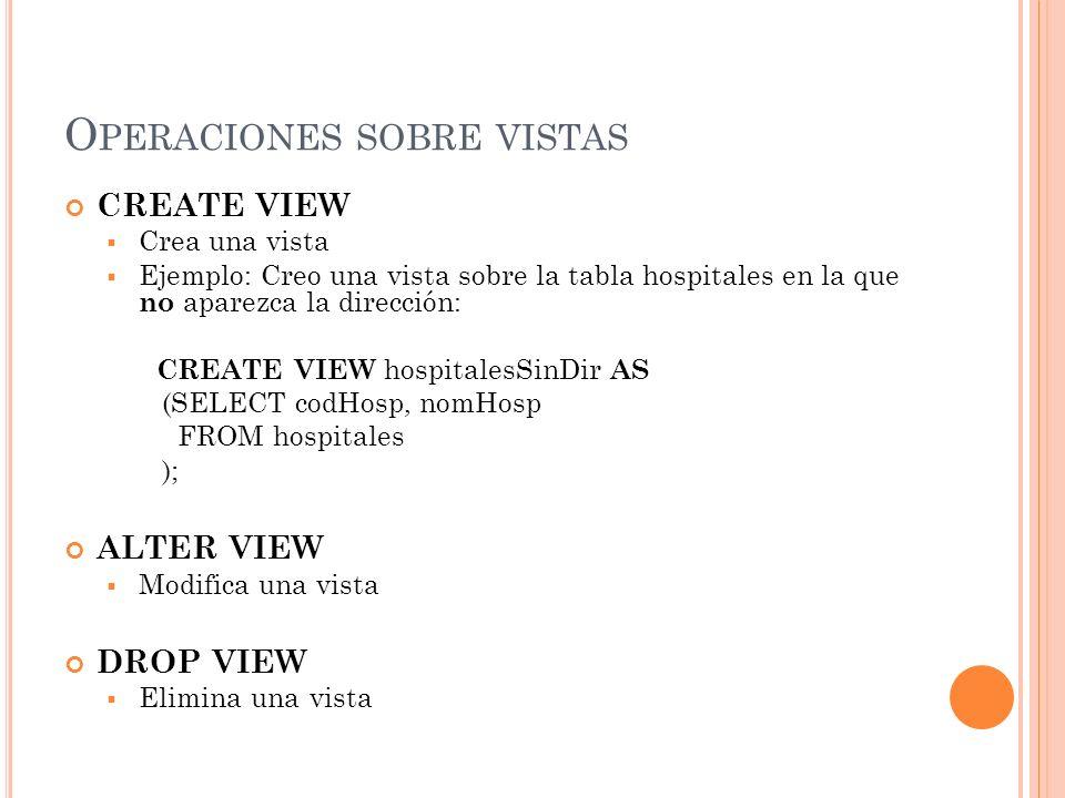 O PERACIONES SOBRE VISTAS CREATE VIEW Crea una vista Ejemplo: Creo una vista sobre la tabla hospitales en la que no aparezca la dirección: CREATE VIEW