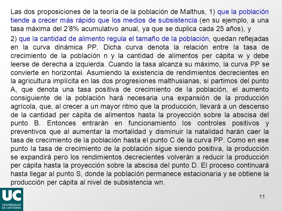 11 Las dos proposiciones de la teoría de la población de Malthus, 1) que la población tiende a crecer más rápido que los medios de subsistencia (en su ejemplo, a una tasa máxima del 28% acumulativo anual, ya que se duplica cada 25 años), y 2) que la cantidad de alimento regula el tamaño de la población, quedan reflejadas en la curva dinámica PP.